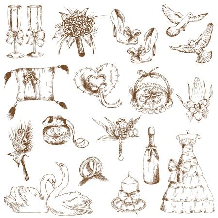 vine border: Set of Beautiful Wedding Hand Drawn Elements