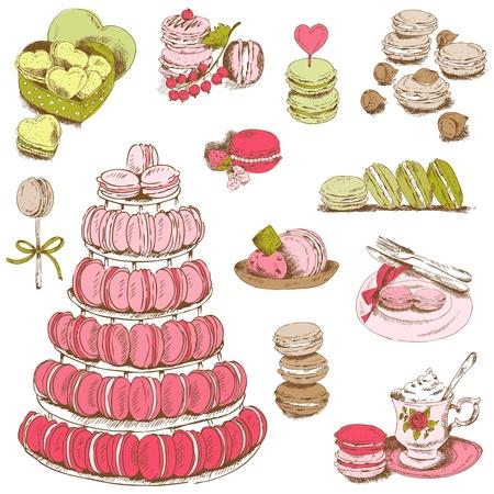 マカロン: マカロンとデザインとスクラップ ブック - デザート コレクション