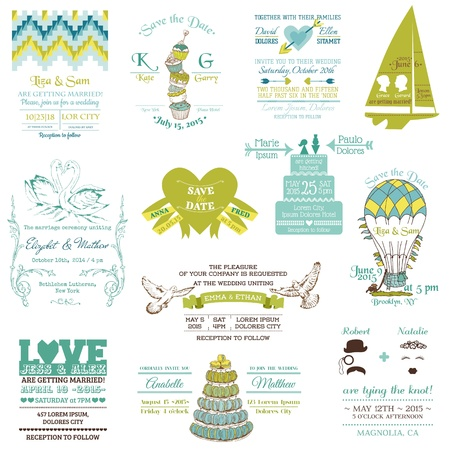 wedding cake: Wedding Vintage Invitation Collection - for design, scrapbook  Illustration