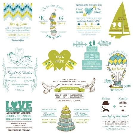macaroon: Wedding Vintage Invitation Collection - for design, scrapbook  Illustration