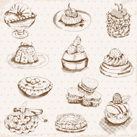 Set of Cakes, Sweets and Desserts  Vector