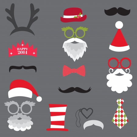 photo of accessories: Christmas Retro Party set - Glasses, hats, lips, mustaches, masks - for design, photo booth Illustration