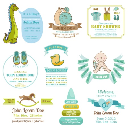 baby stickers: Set of Baby Shower and Arrival Cards - with place for your text Illustration