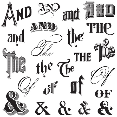 formal: Calligraphic Ands and Thes - for design and scrapbook
