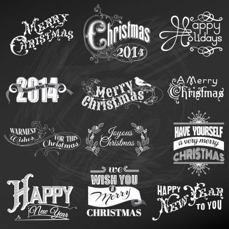 Christmas Calligraphic Design Elements and Page Decoration, Vintage Frames  Vector