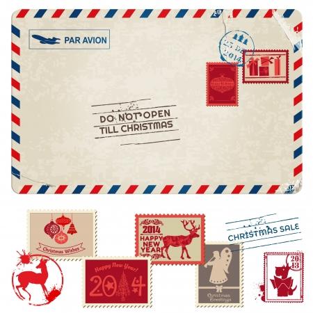 Christmas Vintage Postcard with Postage Stamps - for design, scrapbook - in vector Illustration