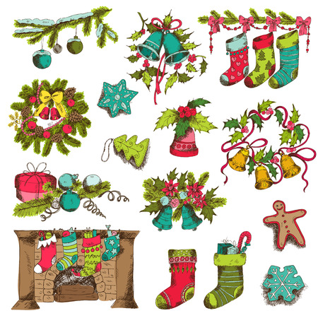 Set of Christmas Elements - for design and scrapbook - in vector Vector