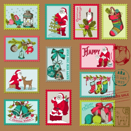 Christmas Postage Stamps - for design, scrapbook - in vector Vector