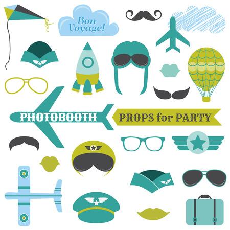 飛行機パーティー セット - photobooth 小道具 - ガラス、帽子、飛行機、口ひげを生やして、マスク - ベクトル