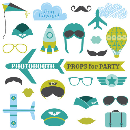 paper airplane: Airplane Party set - photobooth props - glasses, hats, planes, mustaches, masks - in vector