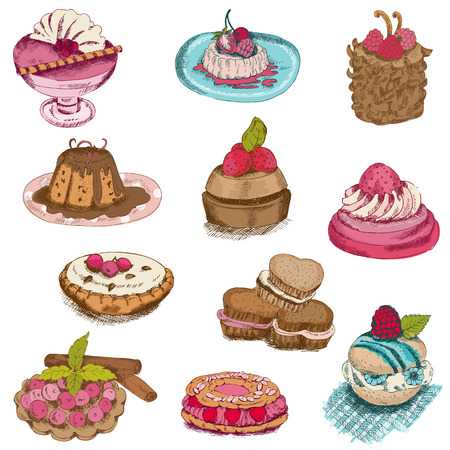 Set of Cakes, Sweets and Desserts - hand drawn in vector Stock Vector - 22406693
