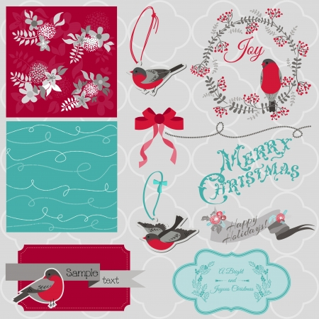 Scrapbook Design Element - Christmas Birds Theme - in vector Stock Vector - 22406699