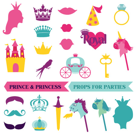 baby stickers: Prince and Priness Party set - photobooth props - crown, mustaches, masks - in vector