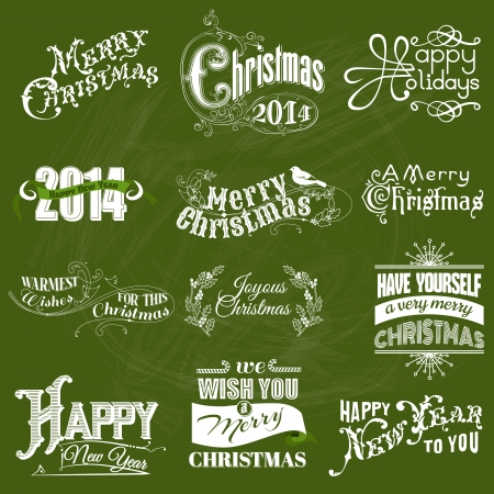 Vector Set: Christmas Calligraphic Design Elements and Page Decoration, Vintage Frames  Vector