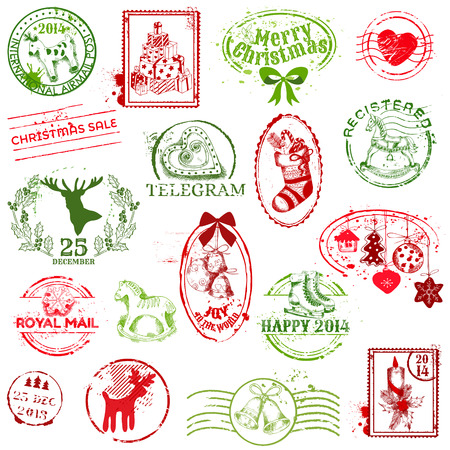 Christmas Stamp Collection Stock Vector - 23042469