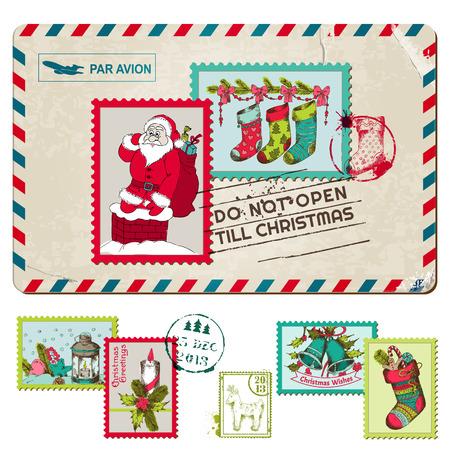 postage stamps: Christmas Vintage Postcard with Postage Stamps  Illustration