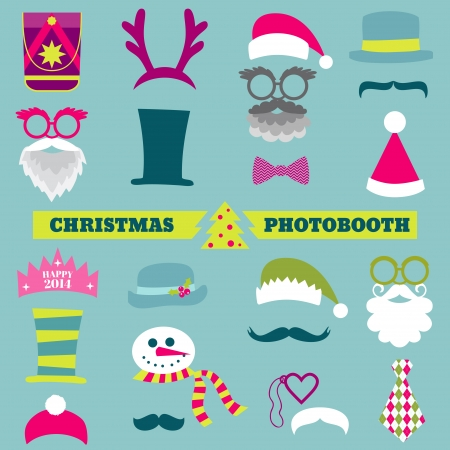 photo of accessories: Christmas Retro Party set - Glasses, hats, lips, mustaches, masks Illustration