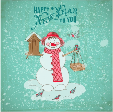 Christmas Card - Snowman and Birds Vector