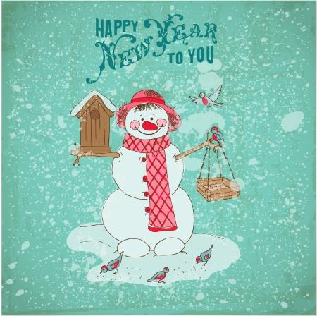 Christmas Card - Snowman and Birds Stock Vector - 23042474