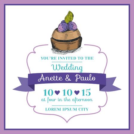 Wedding Invitation Card -Vintage Dessert Theme Stock Vector - 23042476
