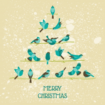 Retro Christmas Card - Birds on Christmas Tree Stock Vector - 23042482