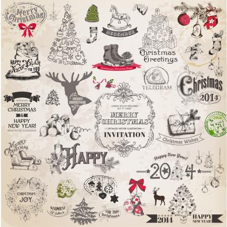 크리스마스 붓글씨 디자인 요소와 페이지 장식, 빈티지 프레임