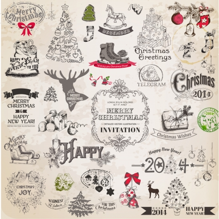 Christmas Calligraphic Design Elements and Page Decoration, Vintage Frames