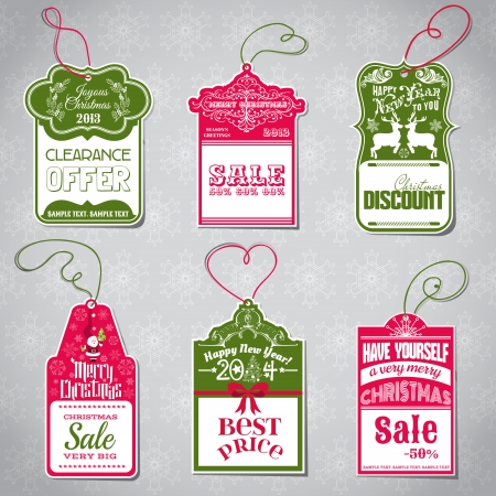 sale tags: Christmas Sale Tags - for design and scrapbook - in vector Illustration