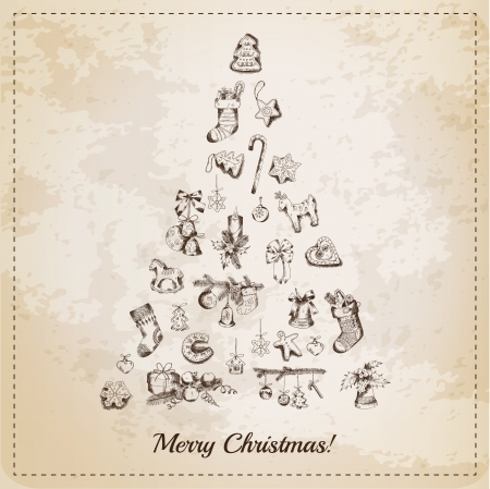 christmas bell: Vintage Christmas Tree Card - with hand drawn christmas elements - in vector
