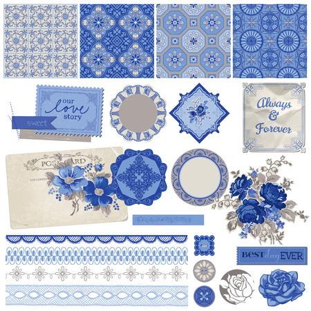 Scrapbook Design Elements - Vintage Porcelain and Flower Set - in vector Vector