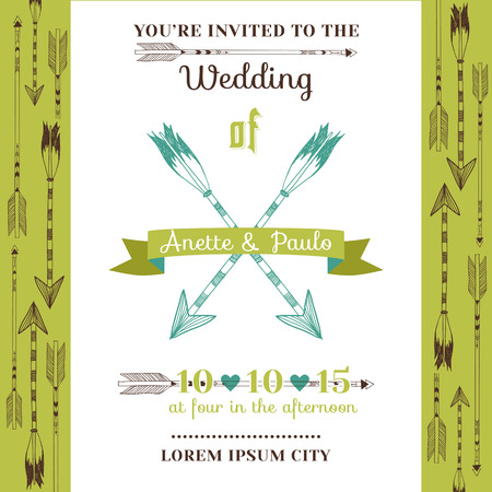Wedding Invitation Card - Feather Arrows and Heart Theme - in vector Vector