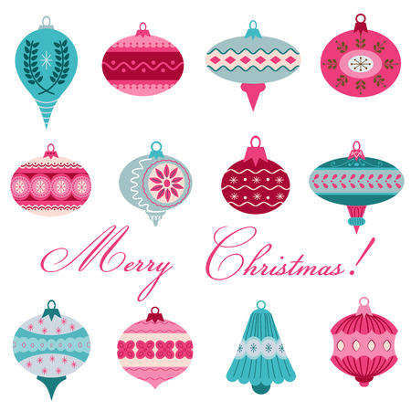 Set of Vintage Christmas Tree Balls - for design and scrapbook - in vector Vector