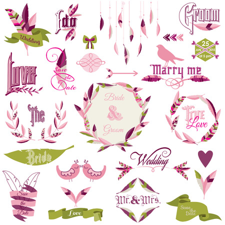 Wedding Design Elements - feathers, birds, arrows, ribbons, wreath - in vector  Vector