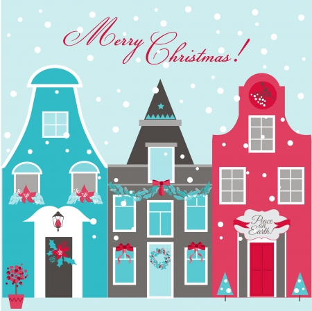 Retro Christmas Invitation Card - Christmas Houses Theme - in vector Vector