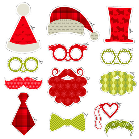 photo of accessories: Christmas Photobooth Party set - Glasses, hats, lips, mustaches, masks - in vector Illustration