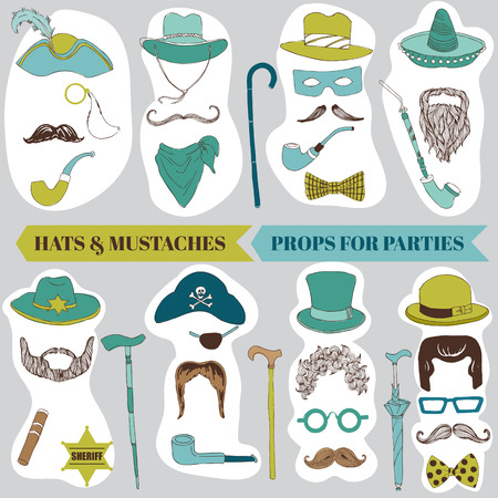 photo of accessories: Photo Booth Party set - Glasses, hats, lips, mustache, masks - in vector Illustration