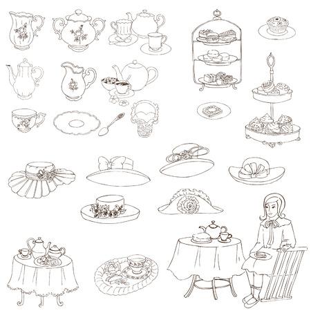 english tea: English Tea Party Set - for design, scrapbook, photo booth - in vector