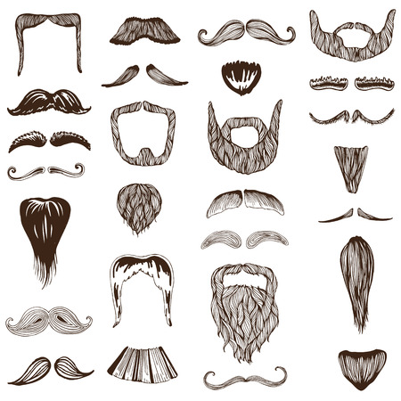 Set of hand drawn Mustache  Vector