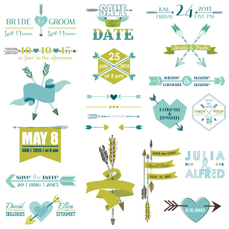 Wedding Graphic Set, Arrows, Feathers, Heart, Ribbons and Labels Vector