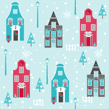 Seamless Christmas House Background  Vector