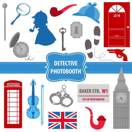 Detective Sherlock Party set   向量圖像