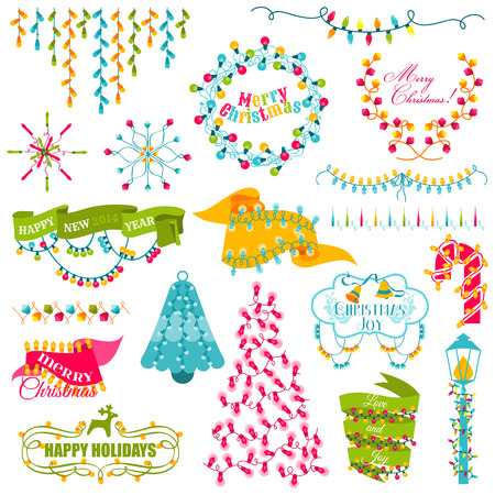 christmas bulbs: Christmas Frames, Wreath, Light bulbs Set - for design and scrapbook - in vector