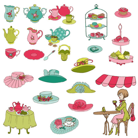 Engels Tea Party Set - voor ontwerp, scrapbook, fotocabine - in vector Stock Illustratie