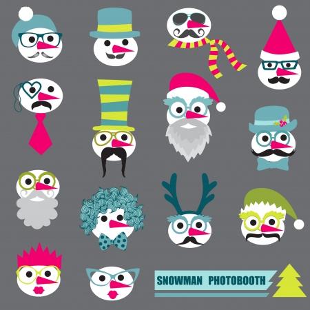 joke glasses: Photobooth Snowman Party set - Glasses, hats, lips, mustache, masks - in vector