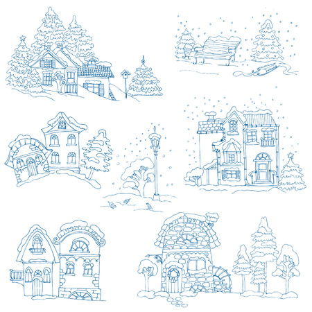 Set of Christmas Houses  - for design and scrapbook - in vector Vector