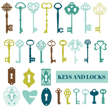 set of keys: Set of Antique Keys and Locks - for your design or scrapbook - in vector Illustration