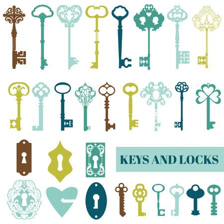 Klucze: Zestaw Starych kluczy i zamków - do projektowania lub notatniku - w wektorze