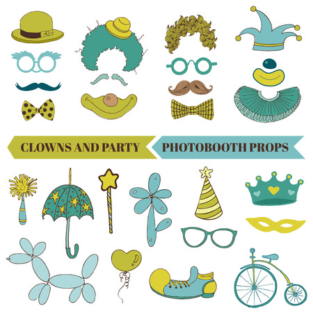 party hats: Clown and Party - Photobooth Set - Glasses, hats, lips, mustache, masks - in vector