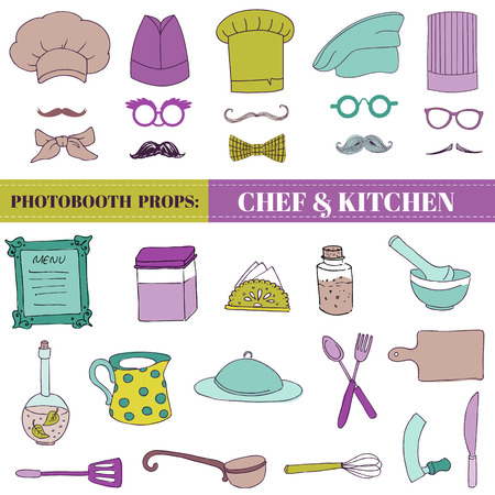 Chef and Kitchen - Photobooth Set - Glasses, hats, lips, mustache, elements - in vector Vector