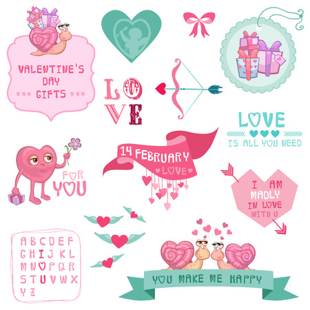 Cute Valentines Day and Love Set - for Valentines day, scrapbooking  in vector  Vector